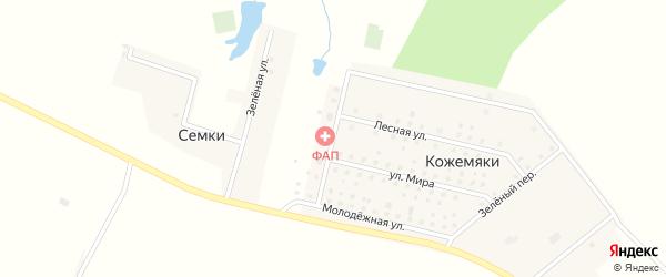 Школьный переулок на карте деревни Кожемяки с номерами домов