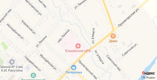 Больничный переулок в Ельне с номерами домов на карте. Спутник и схема онлайн