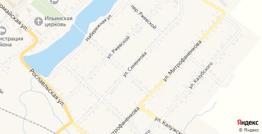 Улица Синенкова в Ельне с номерами домов на карте. Спутник и схема онлайн