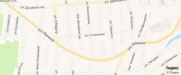Улица Коминтерна на карте поселка Клетня Брянской области с номерами домов