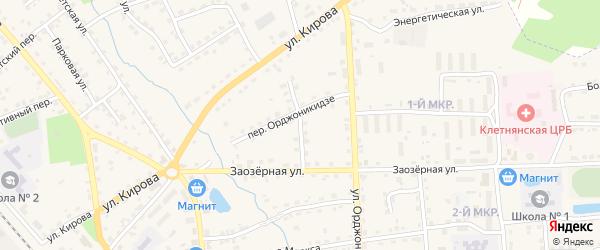 Заозерный переулок на карте поселка Клетня Брянской области с номерами домов