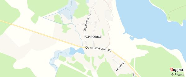 Карта поселка Сиговка города Осташкова в Тверской области с улицами и номерами домов