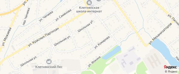 Брянский переулок на карте поселка Клетня Брянской области с номерами домов