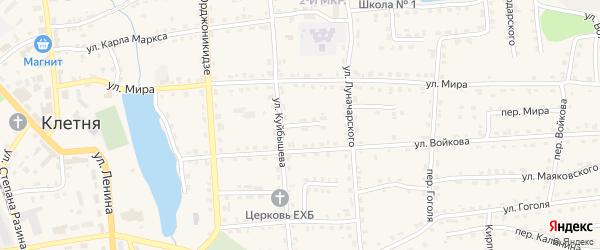 Восточный переулок на карте поселка Клетня Брянской области с номерами домов