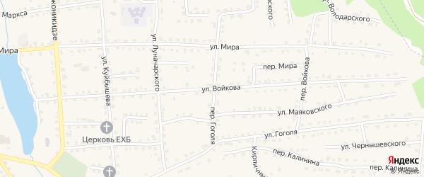 Улица Войкова на карте поселка Клетня Брянской области с номерами домов