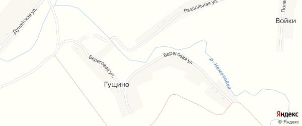 Береговая улица на карте деревни Гущино с номерами домов