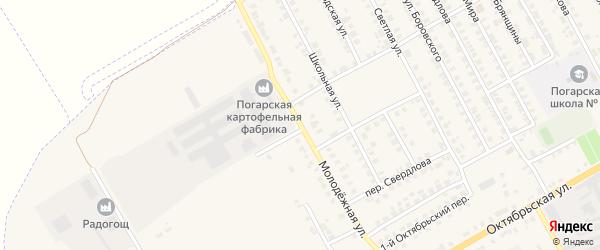 Молодежная улица на карте поселка Погара с номерами домов