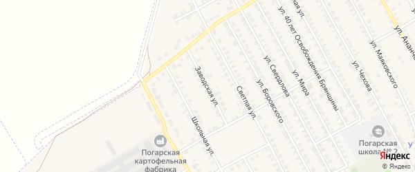 Заводская улица на карте поселка Погара с номерами домов