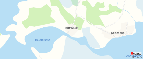 Карта деревни Котчище города Осташкова в Тверской области с улицами и номерами домов