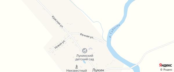 Речная улица на карте деревни Лукина Брянской области с номерами домов