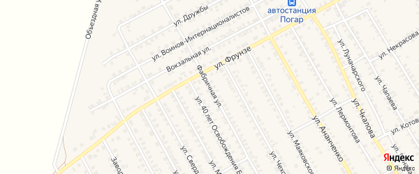 Фабричная улица на карте поселка Погара с номерами домов