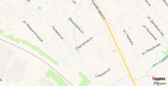 Подгорная улица в Валдае с номерами домов на карте. Спутник и схема онлайн
