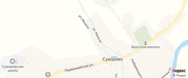 Улица Малечи на карте села Суворово с номерами домов