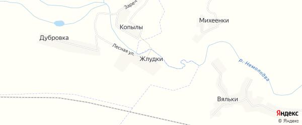 Карта деревни Жлудки в Брянской области с улицами и номерами домов