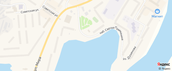 Набережная Сергея Преминина на карте Гаджиево с номерами домов