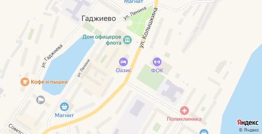 Улица Колышкина в Гаджиево с номерами домов на карте. Спутник и схема онлайн