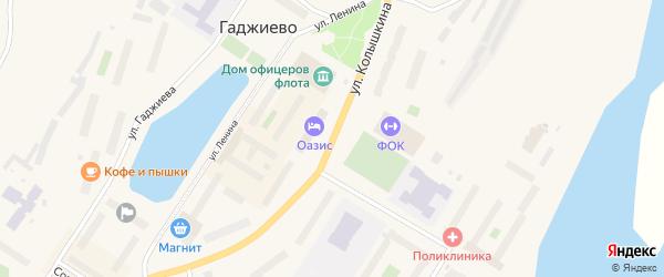 Улица Колышкина на карте Гаджиево с номерами домов