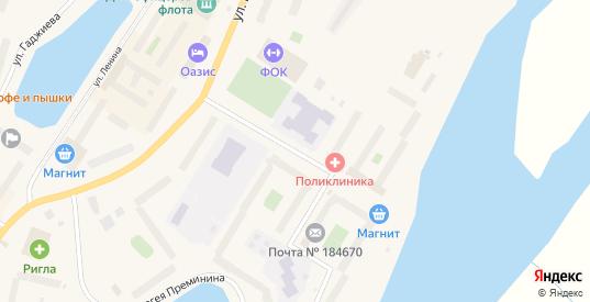 Улица Душенова в Гаджиево с номерами домов на карте. Спутник и схема онлайн