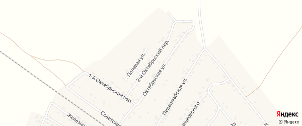Октябрьский 2-й переулок на карте поселка Сещи с номерами домов