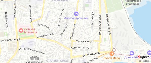 Короткая улица на карте Евпатории с номерами домов