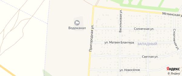 Пригородная улица на карте Почепа с номерами домов