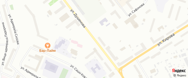 Улица Душенова на карте Североморска с номерами домов