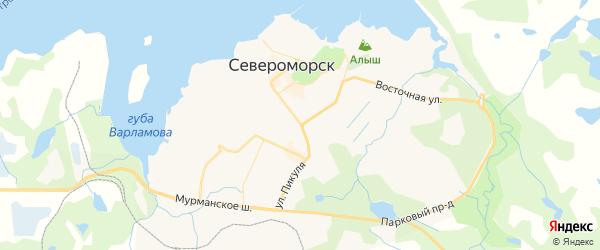 Карта Североморска с районами, улицами и номерами домов