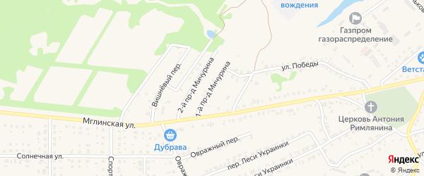 Проезд 1-й Мичурина на карте Почепа с номерами домов