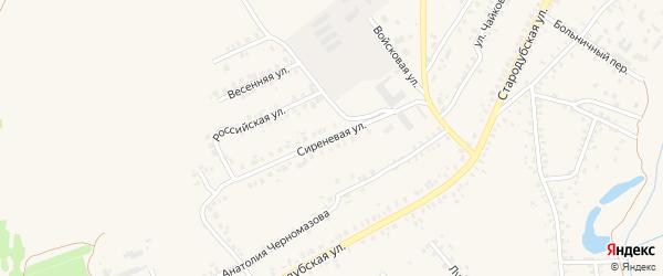 Сиреневая улица на карте Почепа с номерами домов