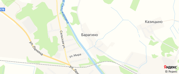 Карта деревни Барагино в Тверской области с улицами и номерами домов