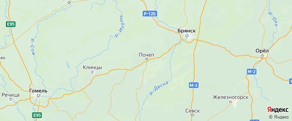 Карта Почепского района Брянской области с населенными пунктами и городами