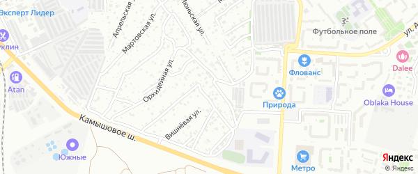 1-й Орхидейный переулок на карте территории ТСН ТСН СНТ Орхидеи с номерами домов