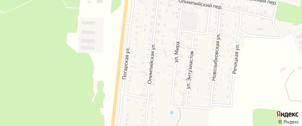 Олимпийская улица на карте поселка Речицы с номерами домов