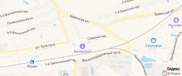 Средний переулок на карте Почепа с номерами домов