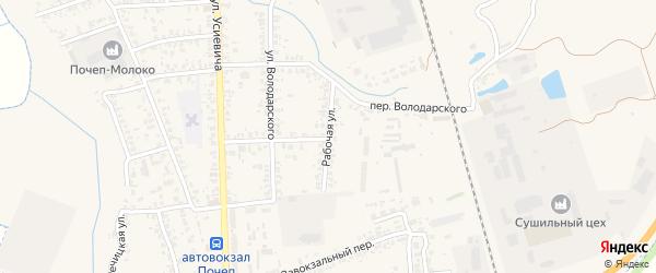 Рабочая улица на карте Почепа с номерами домов