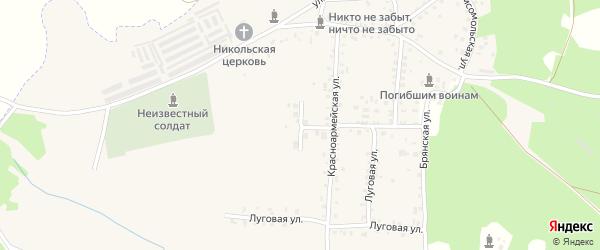 Садовая улица на карте поселка Белой Березки Брянской области с номерами домов
