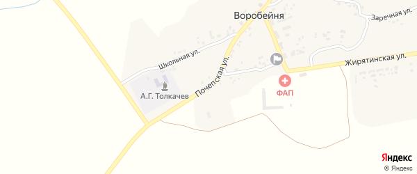 Почепская улица на карте села Воробейни с номерами домов