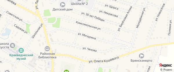 Улица Мичурина на карте поселка Дубровки с номерами домов