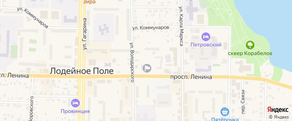 Садовый переулок на карте Лодейного Поля с номерами домов