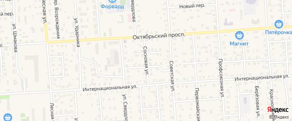 Сосновая улица на карте Лодейного Поля с номерами домов