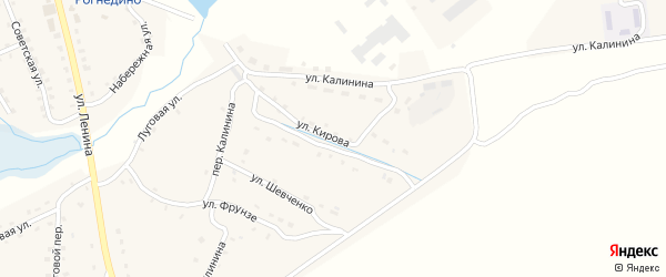 Улица Кирова на карте поселка Рогнедино с номерами домов