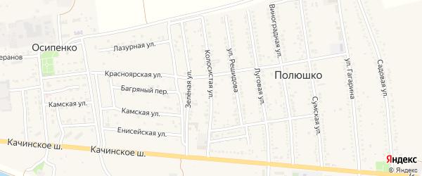 Колосистая улица на карте села Полюшка с номерами домов