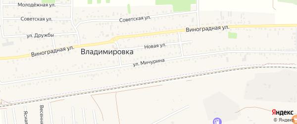 Улица Мичурина на карте села Владимировки Крыма с номерами домов