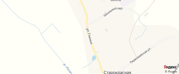 Улица Глинки на карте деревни Старокрасной Слободы с номерами домов