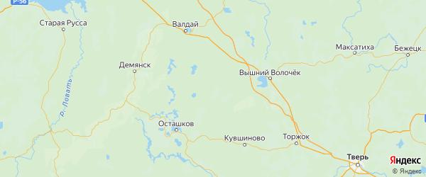 Карта Фировского района Тверской области с городами и населенными пунктами