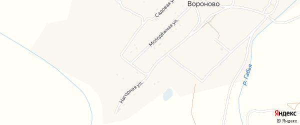 Садовый переулок на карте села Вороново Брянской области с номерами домов