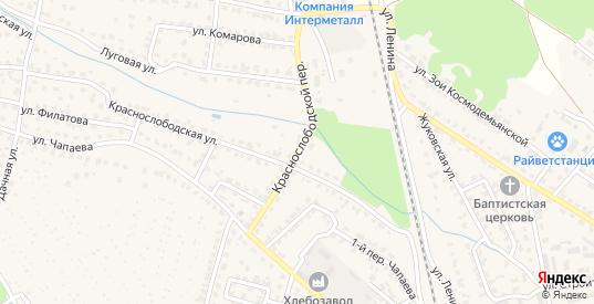 Краснослободской переулок в Жуковке с номерами домов на карте. Спутник и схема онлайн