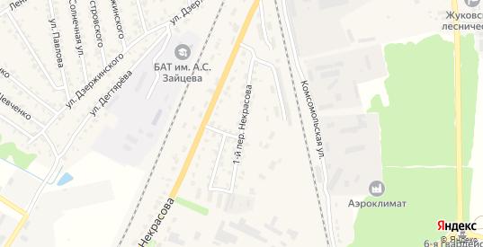Переулок 1-й Некрасова в Жуковке с номерами домов на карте. Спутник и схема онлайн