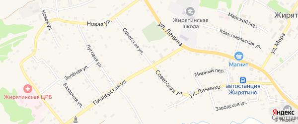 Советская улица на карте села Жирятино с номерами домов