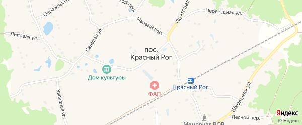 Станционный переулок на карте поселка Красного Рога Брянской области с номерами домов